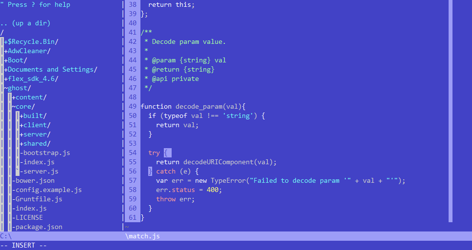sample 1 of my Vim C64 color scheme, NERDTree directory listing