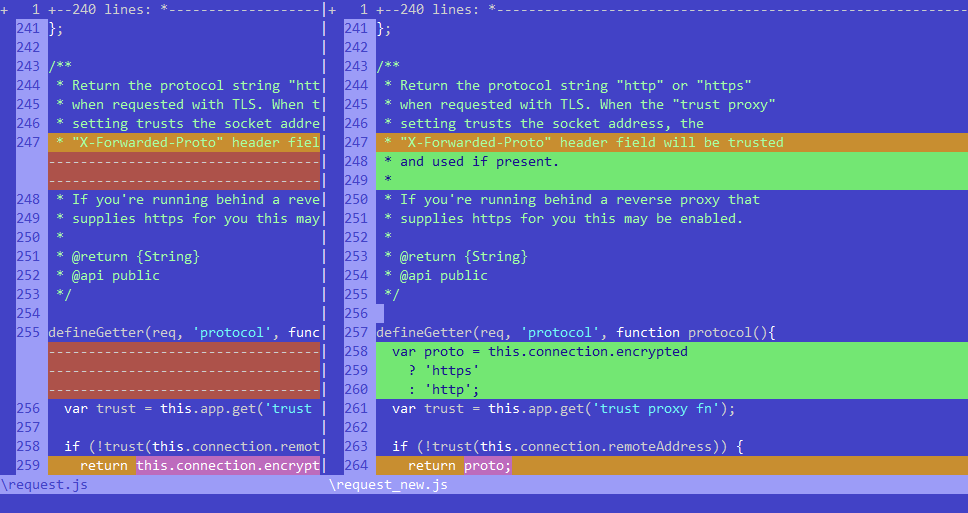 sample 2 of my Vim C64 color scheme, diff between two files